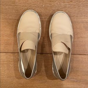 Stuart Weitzman Nude and Silver Slip-ons